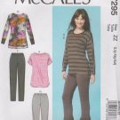 McCalls Sewing Pattern M7295 7295 Misses Size 16-26 Knit Pullover Top Pants
