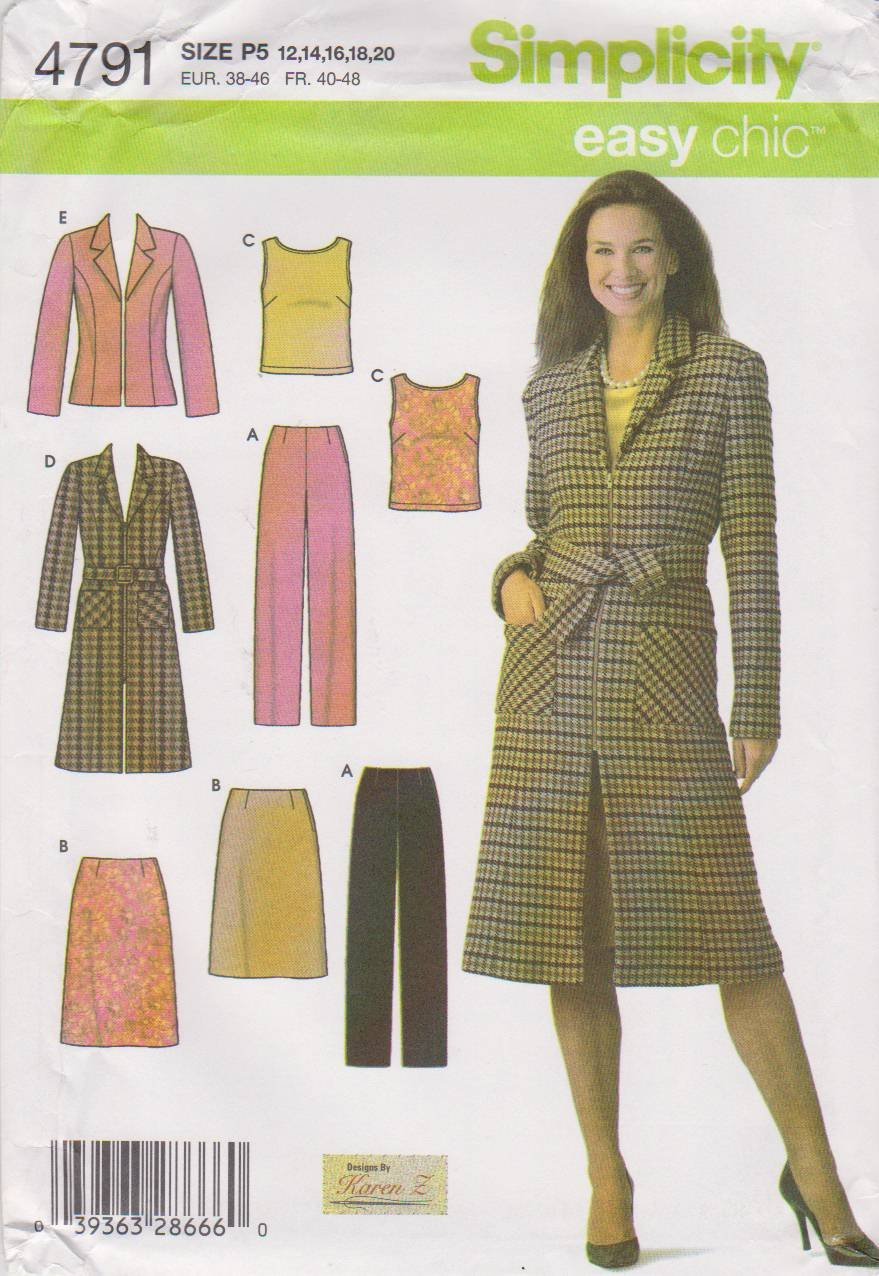 Simplicity Sewing Pattern 4791 Misses Size 12-20 Easy Wardrobe Coat Jacket Top Pants Skirt