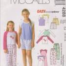McCall's Sewing Pattern 4288 M4288 Girls Size 10-14 Easy Pajamas Pants Shorts Pullover Tops