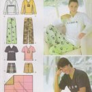 Simplicity Sewing Pattern 4798 Misses Mens L-XL Easy Pajamas Knit Tops Pants Shorts Blanket