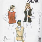 Kwik Sew Sewing Pattern K3172 3172 Misses Sizes XS - XL (8-22) Vests Optional Zipper Front Shearling
