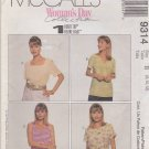 McCall's Sewing Pattern M9314 9314 Misses Size 8-12 1-Hour Top Sleeve Neckline Options