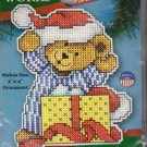 """Design Works Teddy Bear and Present 3"""" x 4"""" Ornament Counted Cross Stitch Kit 558 Plastic Canvas"""