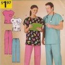 Simplicity Sewing Pattern A4644 Unisex Men's Misses Size XS-XL Easy Scrubs Uniform Top Pants