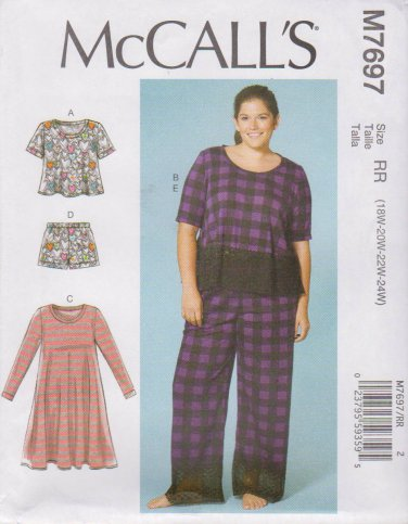 McCall\'s Sewing Pattern 7697 M7697 Womens Plus Size 18W-24W Easy ...