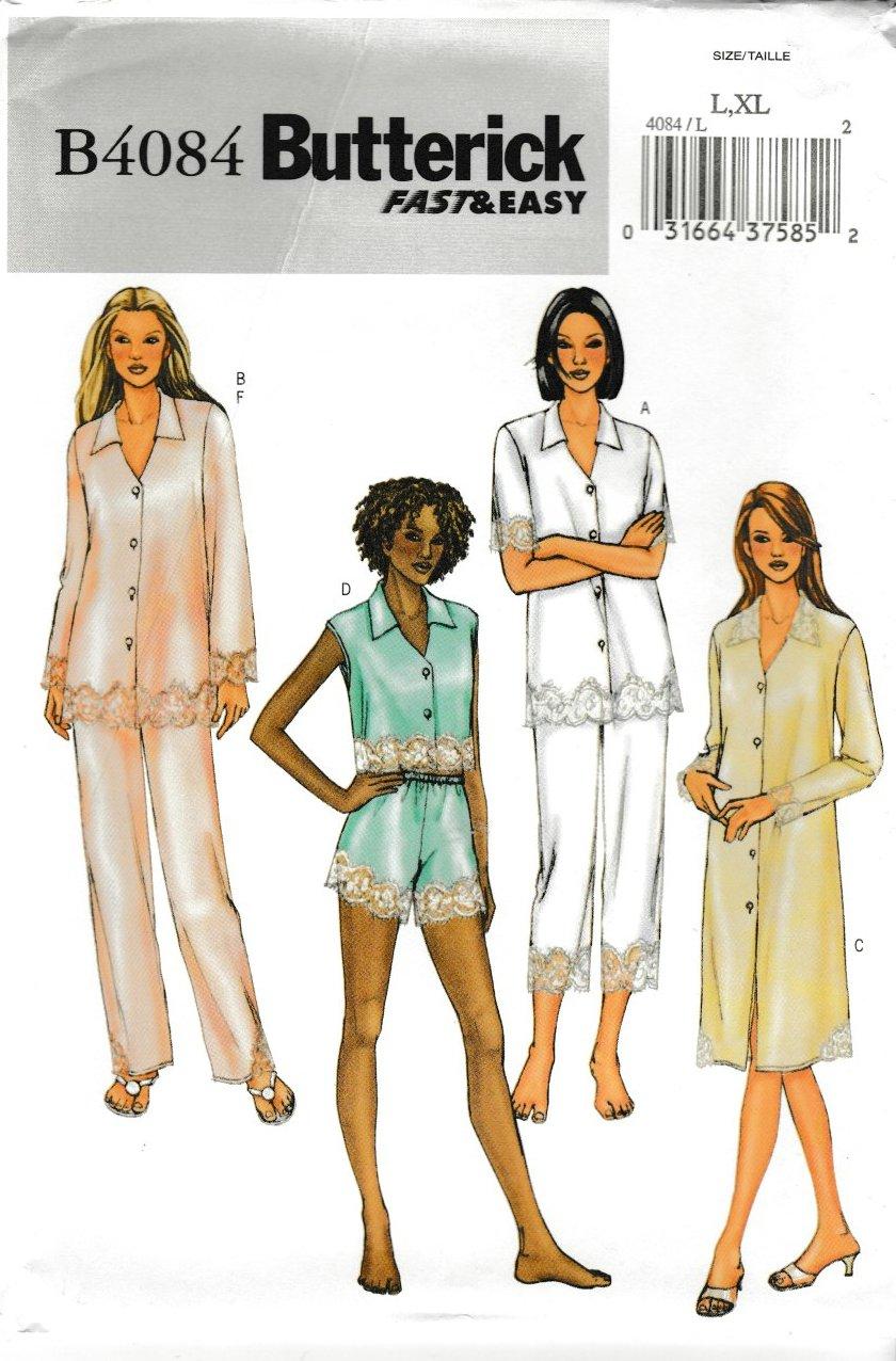 Butterick Sewing Pattern 4084 B4084 Misses Size 16-22 Easy Top Nightshirt Panties Pants Pajamas