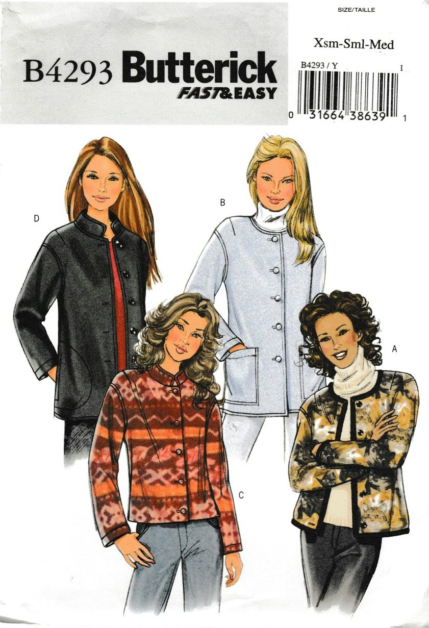 Butterick Sewing Pattern 4293 B4293 Misses Size 4-14 Easy Button Front Fleece Cardigan Jacket