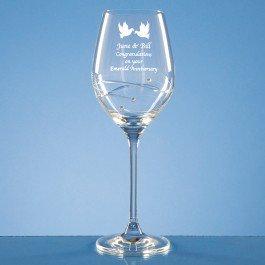 Single Diamante Wine glass w/ Spiral design cutting and Swarovski crystals