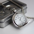 Personalised Silver Finish Pocket Watch, Chain and Box -