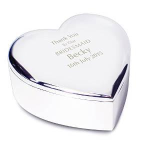 Engraved Silver Plated Heart Trinket Box