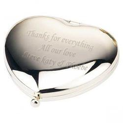 ENGRAVED HEART SHAPED HANDBAG MIRROR
