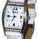 Time after time ladies watch w/ Swarovski crystals and white leather strap