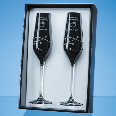 Diamante Nero Platinum Champagne Flutes with Swarovski Elements