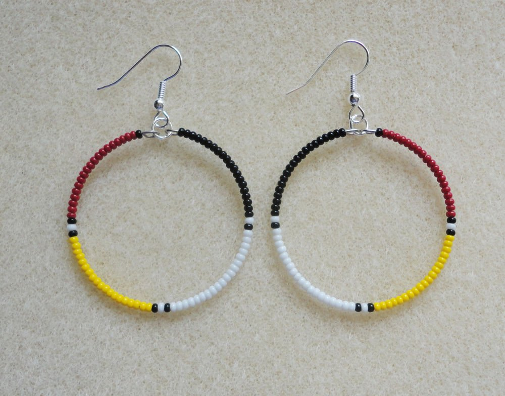 4 Colors/Directions Beaded Silver Hoop Earrings