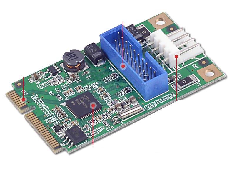 Mini PCI-e to dual USB 3.0 Ports adapter 19P USB header 2 USB3.0 spiltter cable