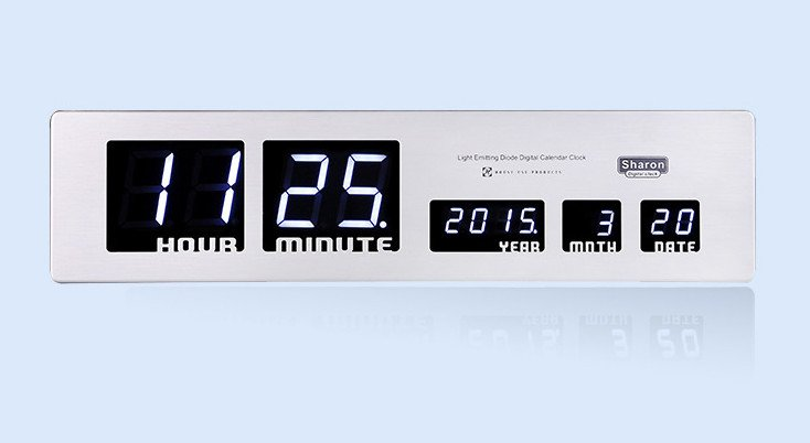 Aluminum Alloy Blue LED Digital Clock Wall Desk Stand Display Time Date Calendar