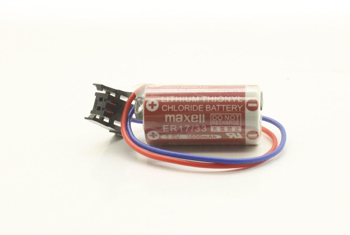 MAXELL ER17/33 3.6V 1600mah Lithium PLC Thionyl Chloride Battery w Plug For PLC Backup Power