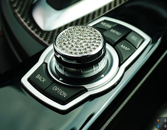 1Pcs Silvery Ring Car Multimedia Rotating Button Stainless Steel Decoration Ring