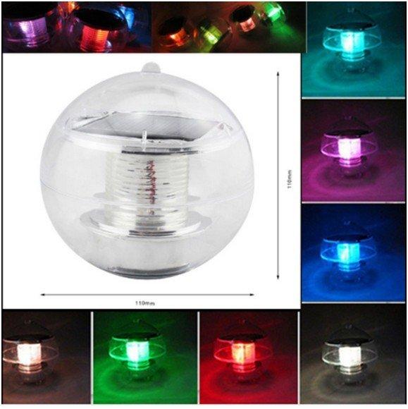 Lake Waterproof Solar Floating Rotat 7 Color Changing LED Light Lamp Ball