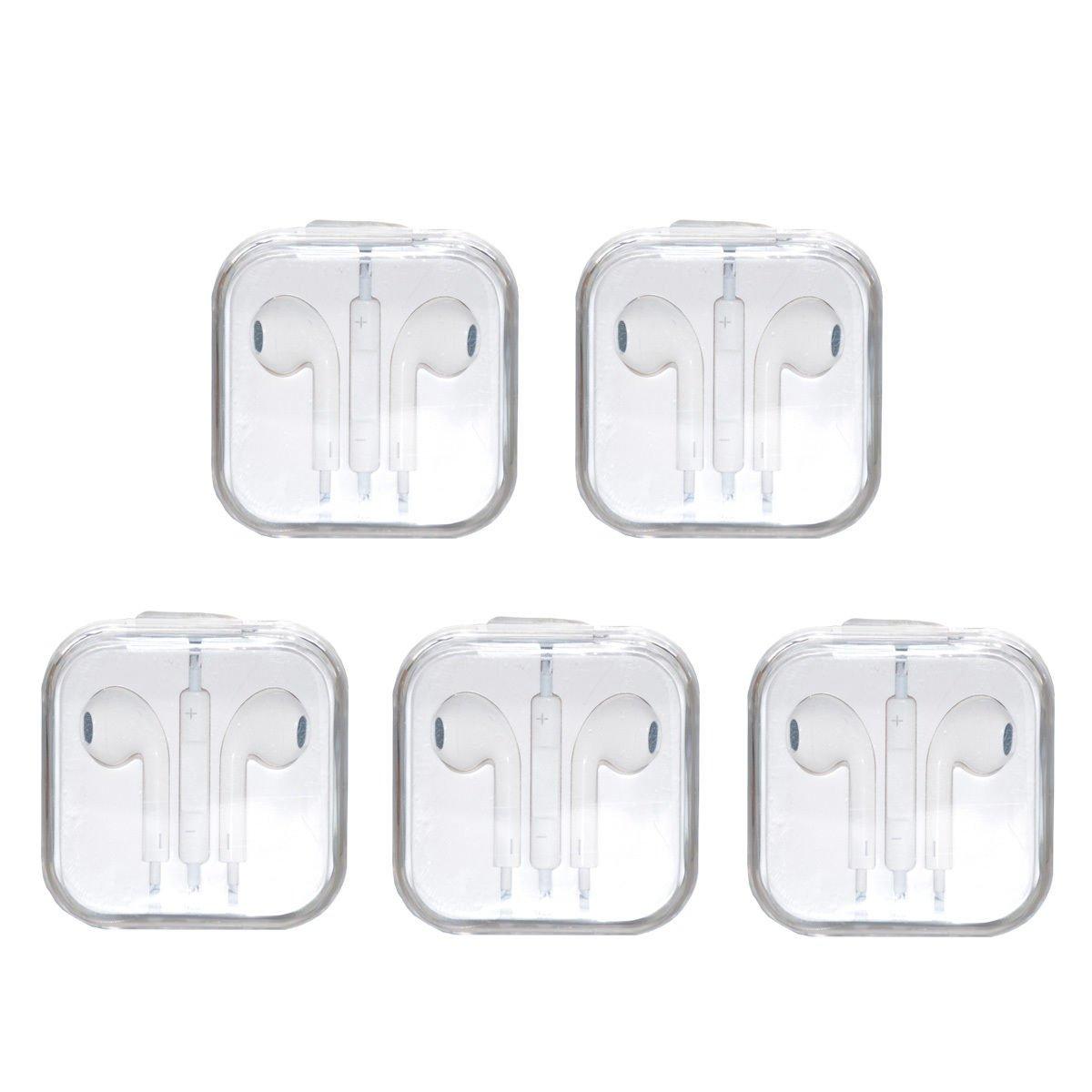 5x Earphone Earbud Headphone w/ Volume Control For Apple iPhone 5 5s 6 6S ipod
