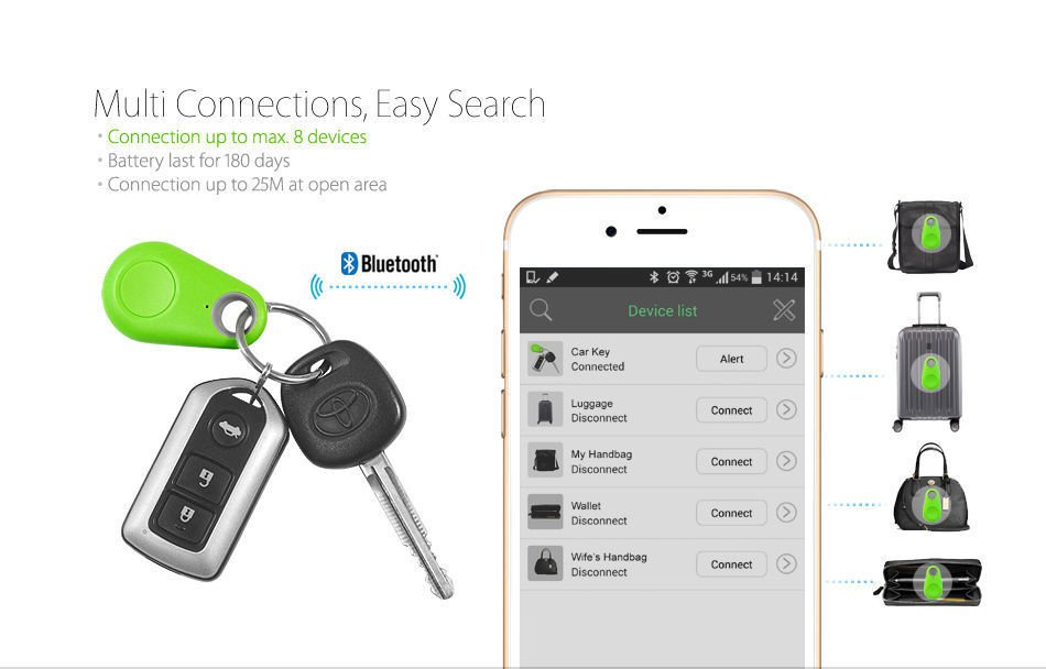 Smart Wireless Bluetooth 4.0 Anti Lost Key Tracker Alarm Key Finder GPS Locator