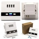 White LED Light 4-Port USB Wall Socket Charger AC Power Receptacle Outlet Panel