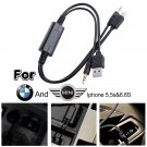 BMW Mini Cooper iPod iPhone 5 5s 6 Plus Interface Audio USB Y Cable AUX Adapter