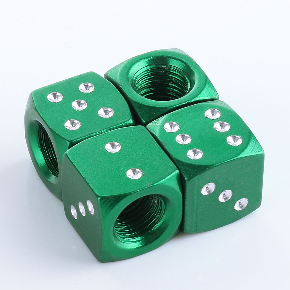 4pcs Green Dice Style Wheel Tyre Valve Stems Caps Air Dust Covers For Focus