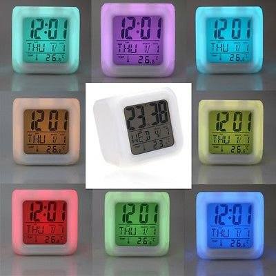 Attractive Glowing 7 LED Color Change Digital Glowing Alarm Thermometer Clock
