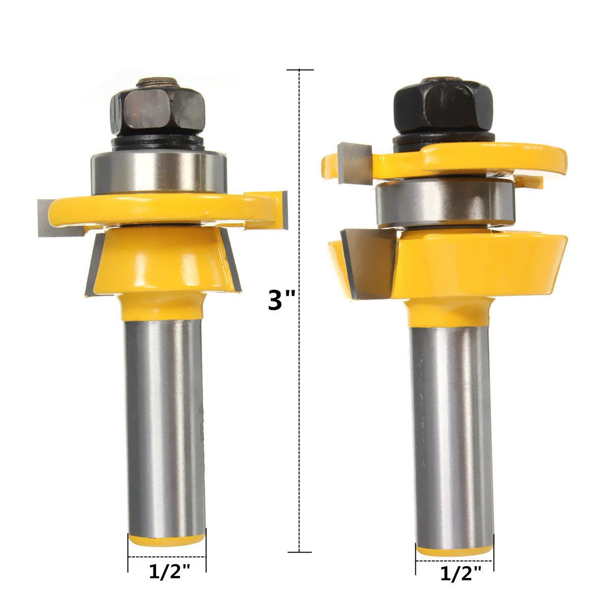 2Pcs Rail & Stile Router Bit 1/2'' Shank Shaker Woodworking Chisel Cutter Set