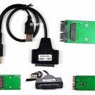 "USB micro SATA cable 221 Mini PCIe mSATA 3x5 SSD to 1.8"" micro SATA Adapter card"