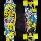 New Skull Patterned 22'' Retro Skateboard Penny Skate Board Graphic Plastic Deck