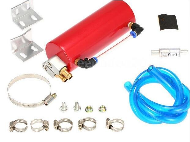 Aluminum Racing Engine Oil Catch Motor Car Billet Round Turbo Reservoir Can Kit