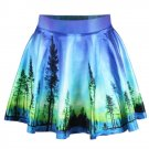 New Women Blue Country side Scenery High Waist Skater Flared Pleated Mini Short Skirt Dress