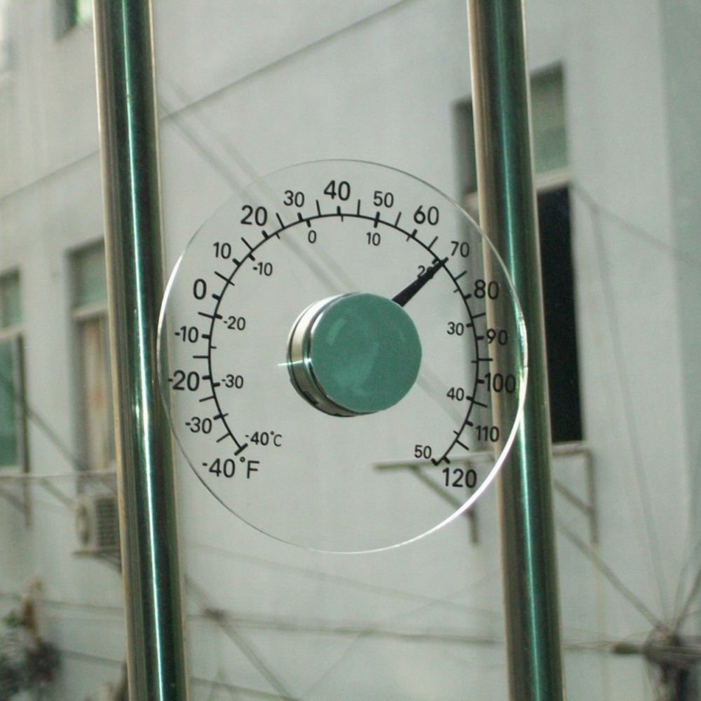 Round Design Stick On Transparent Plastic Outdoor Out side Window Thermometer