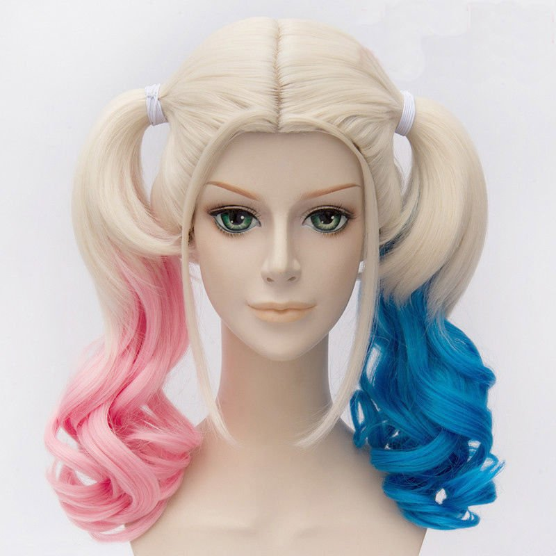 Harley Quinn Harleen Quinzel Cosplay Hair Pink Blue Curly Costume Full Long Wigs