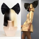 New Sia Furler costume wig half black half platinum blonde long bob Stylish wigs