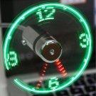 USB Mini Gooseneck Flexible Time LED Clock Rotating Fan with Light Cool Gadget