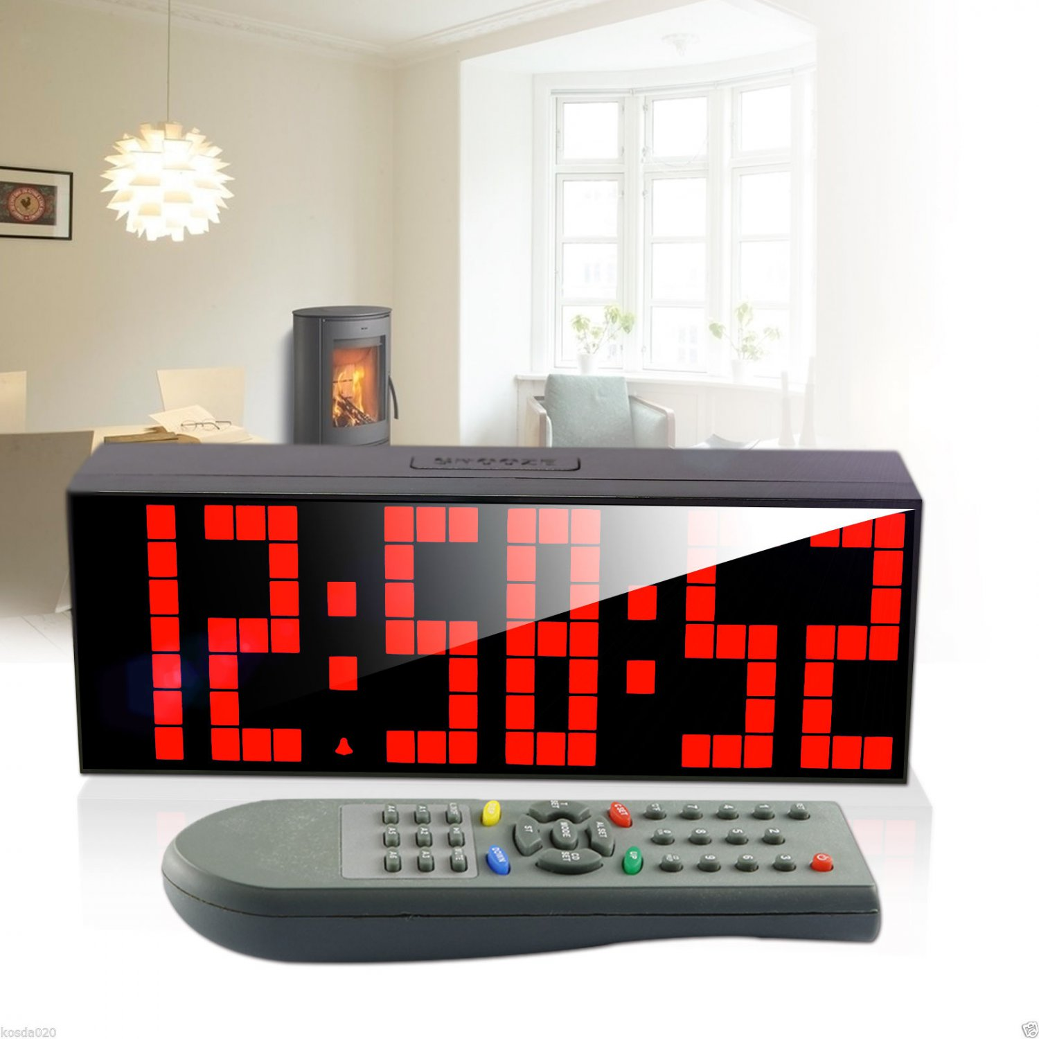 Remote LED Digital Wall Clock Table Duai Alarm Timer Stopwatch Countdown Snooze