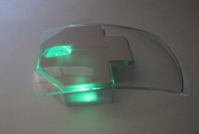 New Silent Click Ultrathin See Through Optical Wireless Green LED Mouse Portable