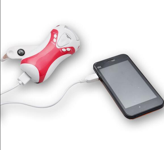 FM Radio 5 LED LEDs Flashlight USB Port Power Hand Crank Dynamo Scan for Camping