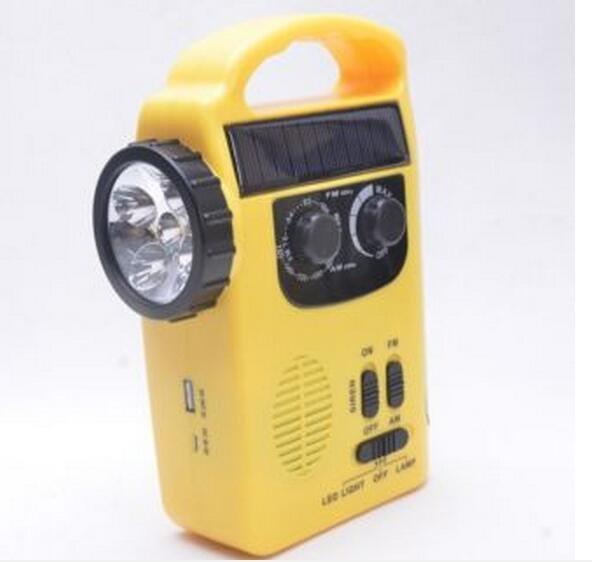 Hand Crank LED Camping Lantern Flashlight FM AM Radio Solar Emergency Charger