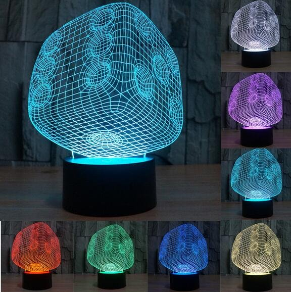 New Abstract 3D LED Dice Night 7 Color Change Touch Switch Table Desk Lamp Light