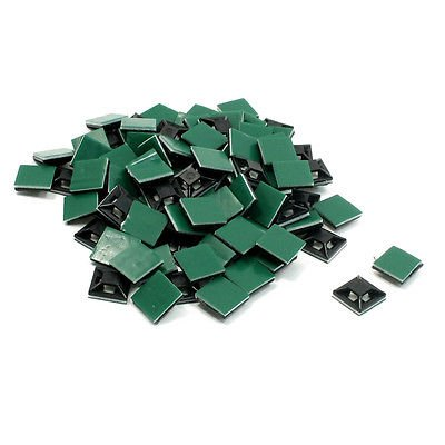100 Pieces 13mm x 13mm Plastic Cable Cord Wire Tie Self Adhesive Base Black
