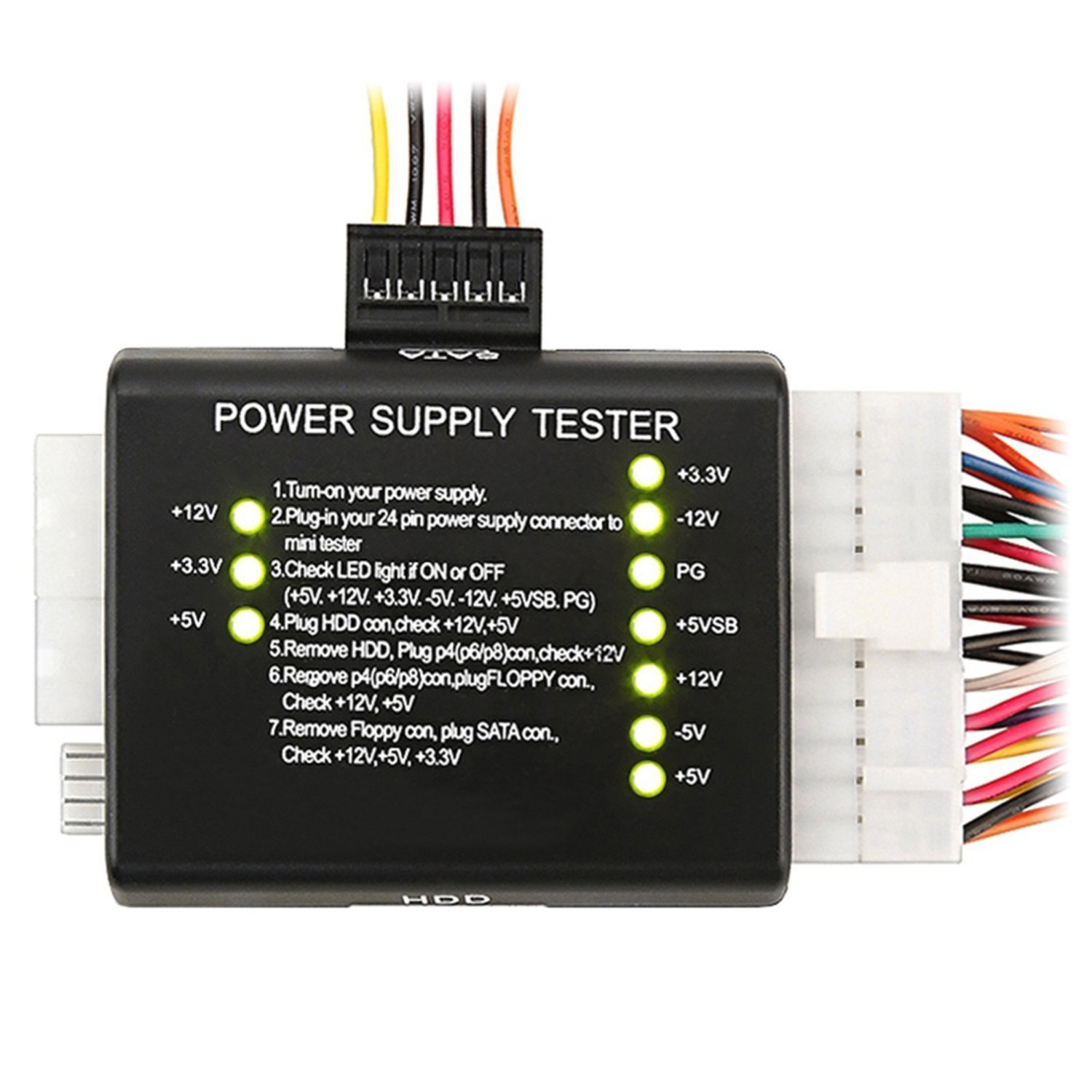 20 / 24 pin Test Diagnostic Desktop PC Power Voltage Supply Tester for ATX SATA HDD Port
