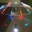 Transparent outdoor Light Up High Quality LED Flashing Colorful Transparent Umbrella with Flashlight