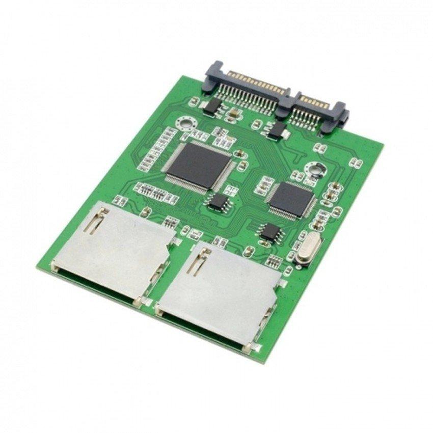 Dual SD SDHC MMC Memory Card to 7+15 Pin 22pin SATA Male Convertor Kit RAID 0 Adapter