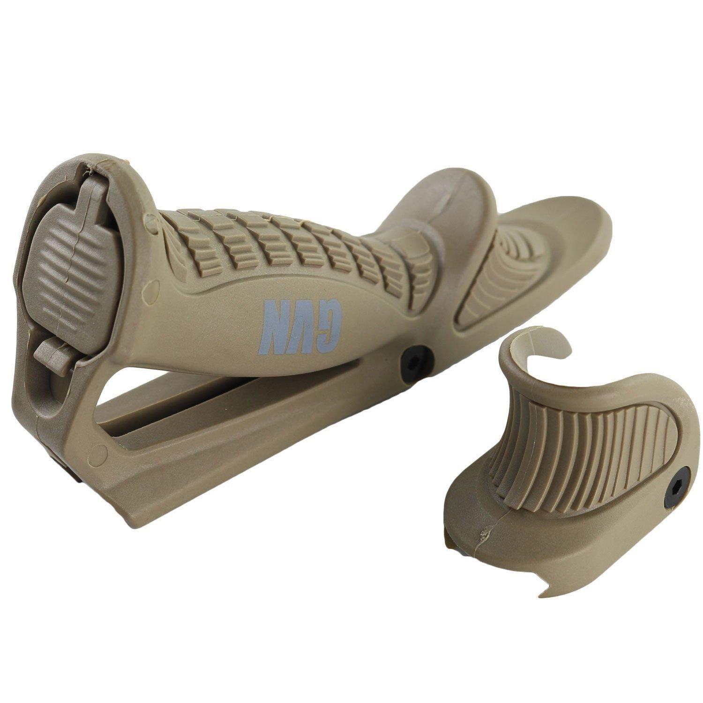 New Rifle Tactical Ergonomic Forward Point Angled Grip Thumb Lock Hand Stop Tan