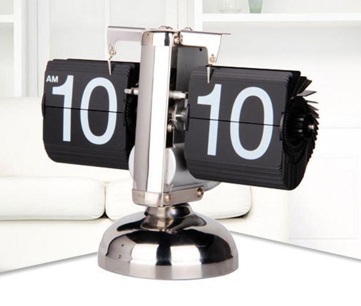 Metal Desk Table Retro Time Clock Modern Scale Digital Auto Flip Down Single Stand