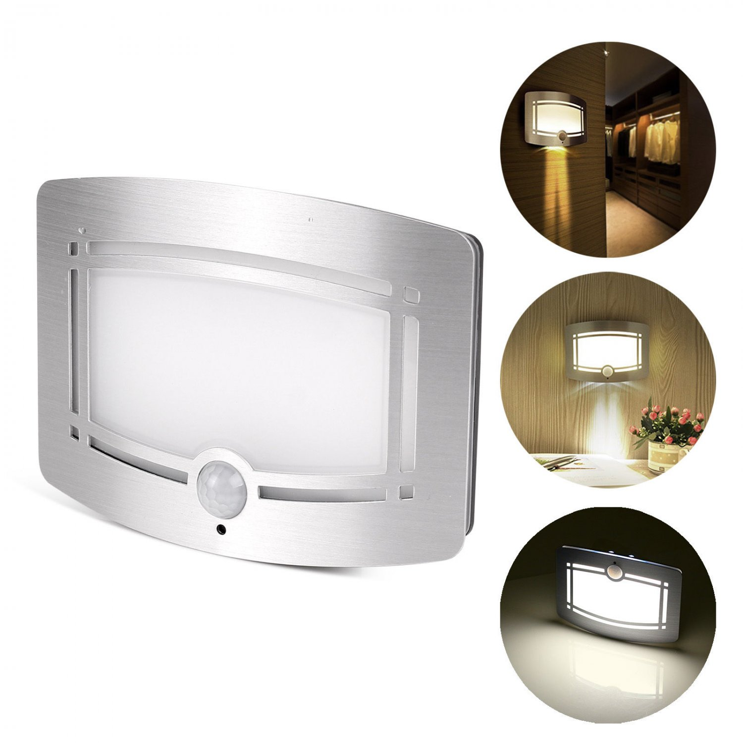 Motion Sensor Activated LED Sconce Wireless Night Light Lamp Battery Operated
